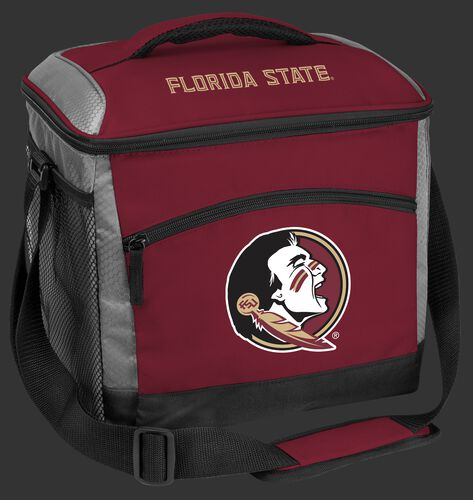 A maroon Florida State Seminoles 24 can soft sided cooler with screen printed team logos - SKU: 10223020111