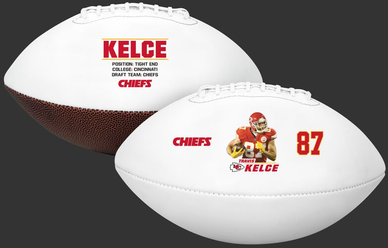 Two images showing both sides of a Travis Kelce full size football - SKU: 35341349111