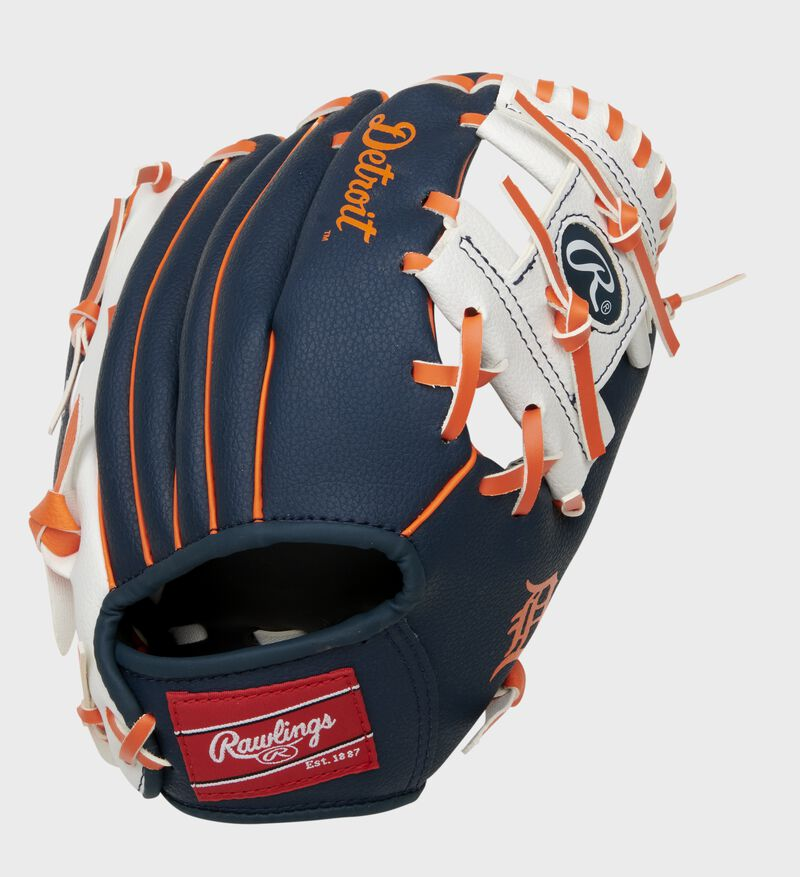 A navy/white Detroit Tigers 10-Inch I-web glove with orange accents and red Rawlings patch - SKU: 22000027111