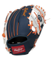 A navy/white Detroit Tigers 10-Inch I-web glove with orange accents and red Rawlings patch - SKU: 22000027111 image number null