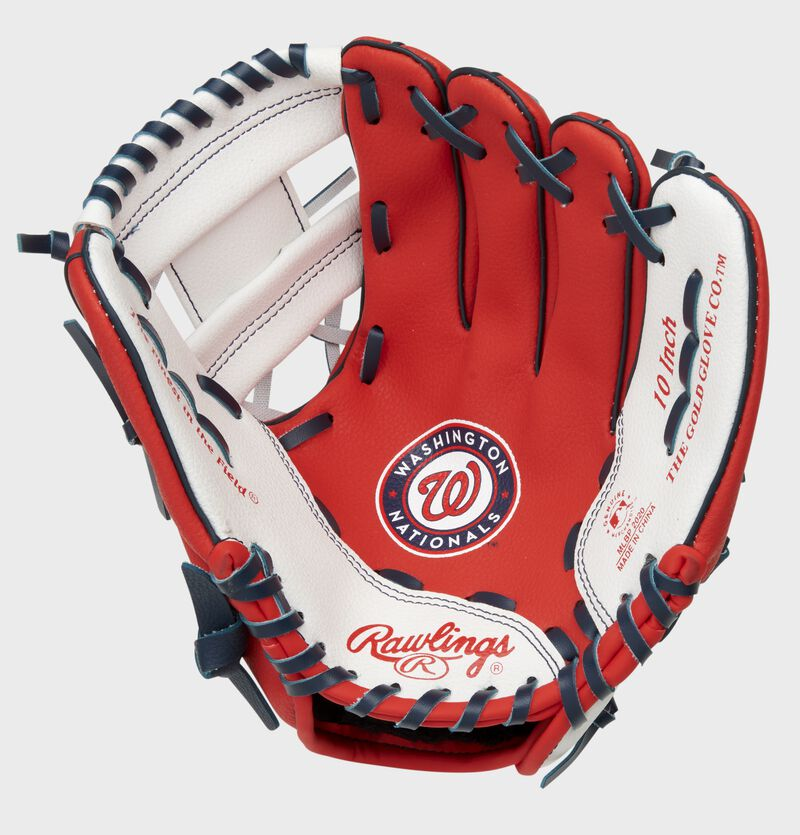 A red/white Rawlings Washington Nationals youth glove with the Nationals logo stamped in the palm - SKU: 22000031111