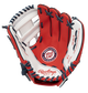 A red/white Rawlings Washington Nationals youth glove with the Nationals logo stamped in the palm - SKU: 22000031111 image number null
