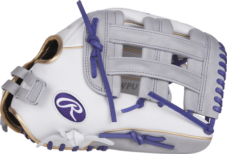 Thumb view of a white RLA130-6WPU Liberty Advanced color series 13-inch fastpitch glove with grey trim and grey H web