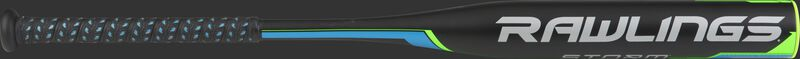 FP8S13 Storm fastpitch bat with a black barrel and neon green/blue accents