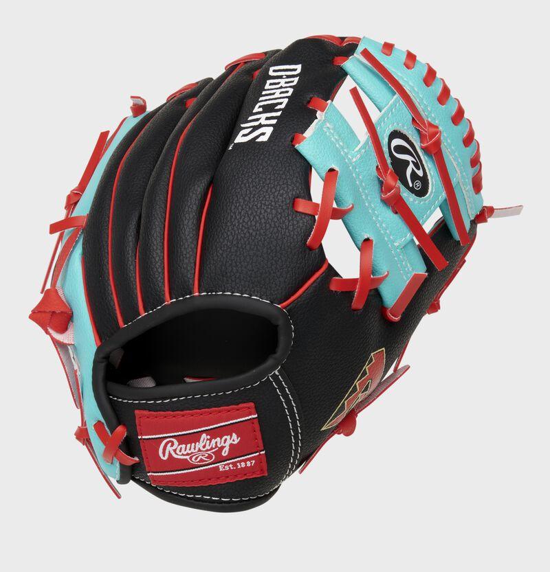 Back of a black/teal Arizona Diamondbacks 10-inch I-web glove with a red Rawlings patch - SKU: 22000010111