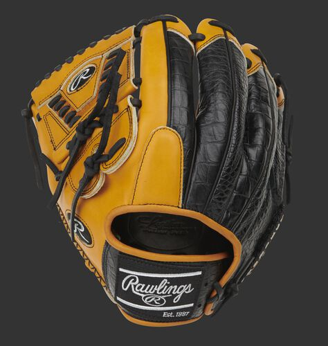 Croc embossed leather back of a Pro Preferred laced 2-piece solid web glove with a black Rawlings patch - SKU: PROS205-30TC