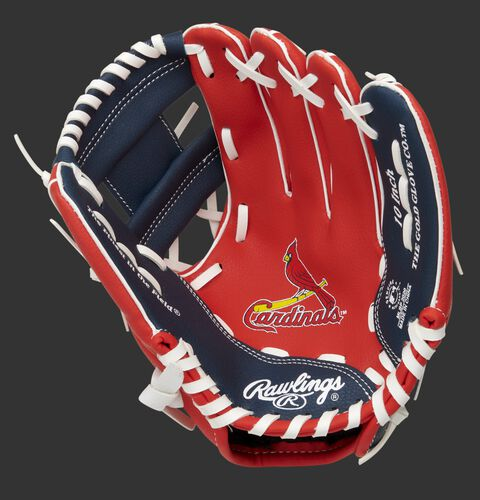 A red/navy Rawlings St. Louis Cardinals youth glove with a Cardinals logo on the palm - SKU: 22000007111