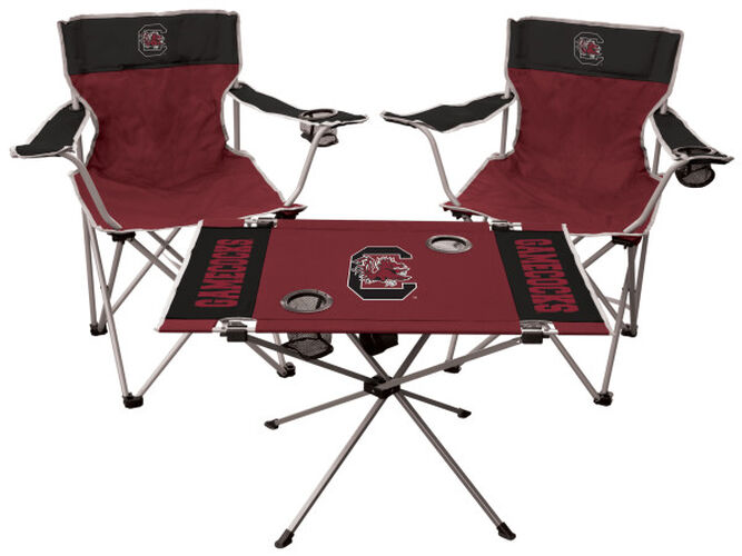 Front Of Rawlings Black And Garnet NCAA South Carolina Gamecocks 3-Piece Tailgate Kit With Two Kickoff Chairs, An Endzone Table, And A Transport Bag With Team Logo - SKU ##00993098511
