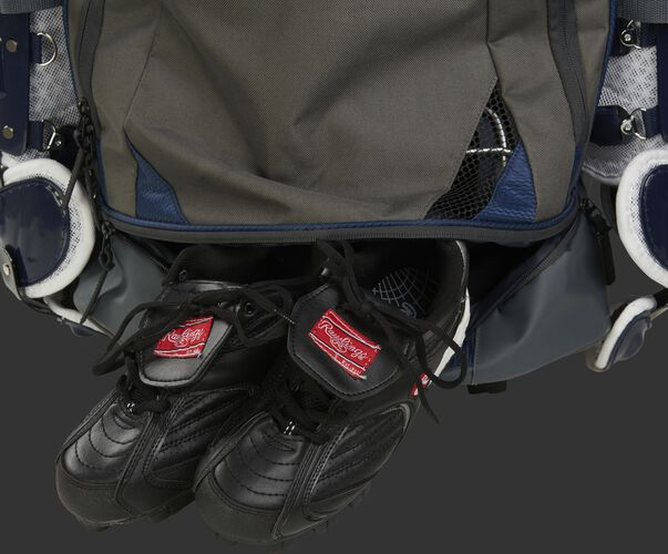 Shoe compartment of a R1801 catcher's equipment wheeled backpack