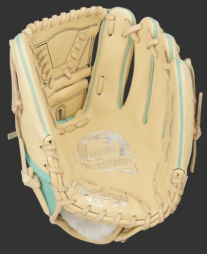Camel palm of a Rawlings Pro Preferred 11.75-Inch glove with a camel web and laces - SKU: PROS205W-30CM