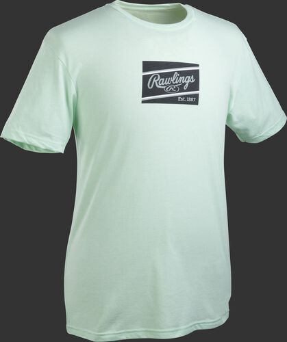 A mint Rawlings ColorSync patch short sleeve shirt with a black/gray patch on the chest