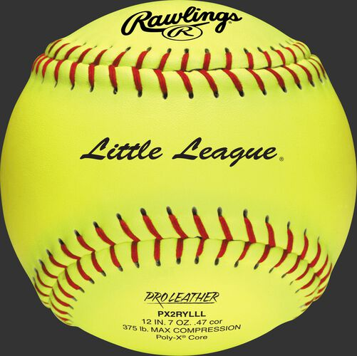 A yellow PX2RYLLL Little League official 12-inch softball with red stitching