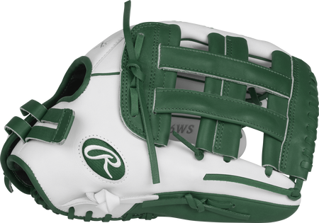 RLA130-6WDG Liberty Advanced color series 13-inch fastpitch glove with a white thumb, dark green trim and dark green H web