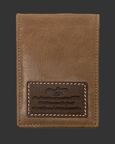 A tan American Story front pocket wallet with a leather patch telling the Rawlings American story - SKU: RPW003-204