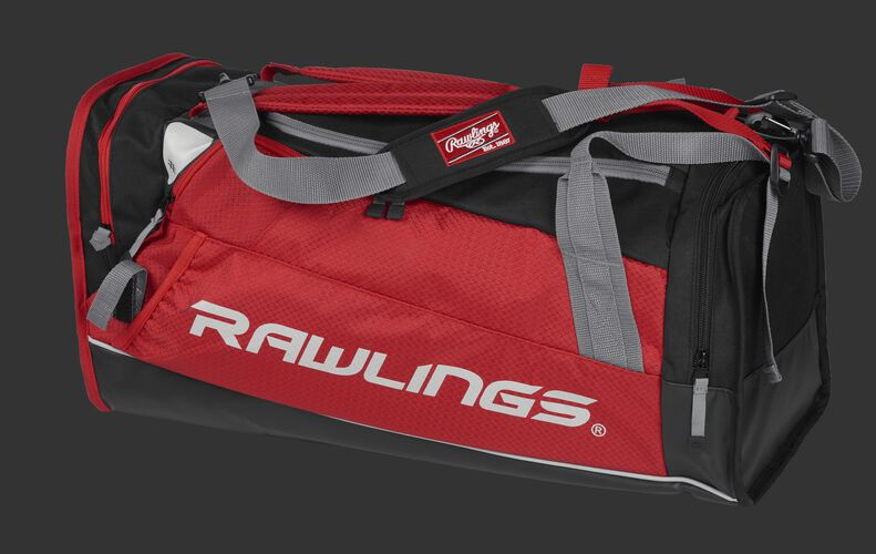 Side angle view of a scarlet R601 Rawlings Hybrid duffel backpack