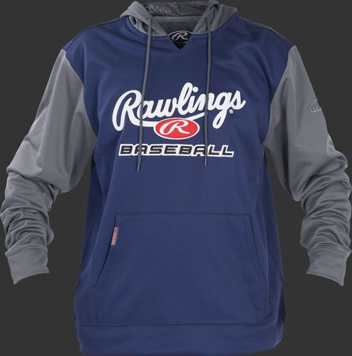 Front of Rawlings Navy/Gray Adult long Sleeve Hoodie - SKU #PFHPRBB-GR-88