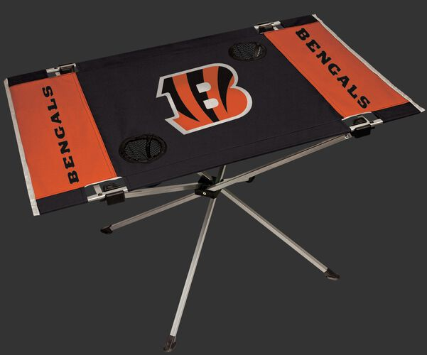 Rawlings Black and Orange NFL Cincinnati Bengals Endzone Table With Two Cup Holders, Team Logo, and Team Name SKU #03391063111