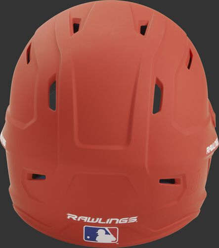 Back of a burnt orange MACH high performance helmet with the Official Batting Helmet of MLB logo