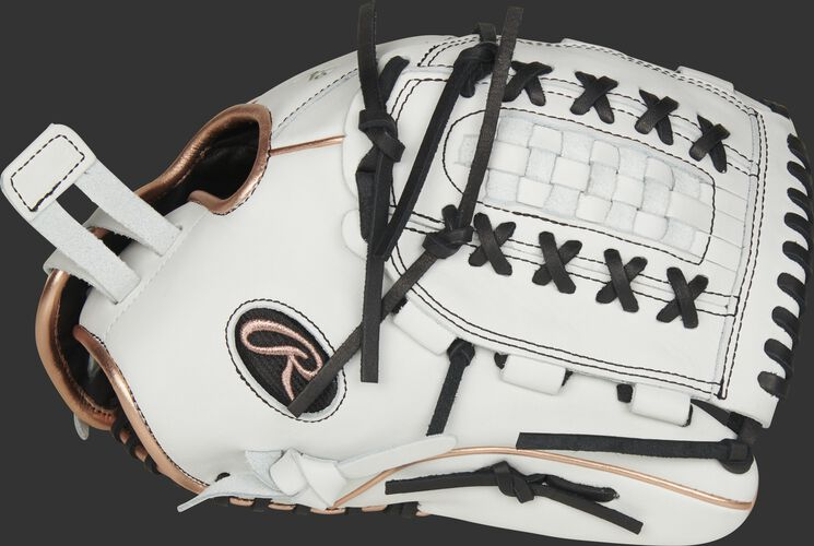 Thumb of a white RLA125-18RG Liberty Advanced Color Series 12.5-inch fastpitch glove with a white Double Laced Basket Web