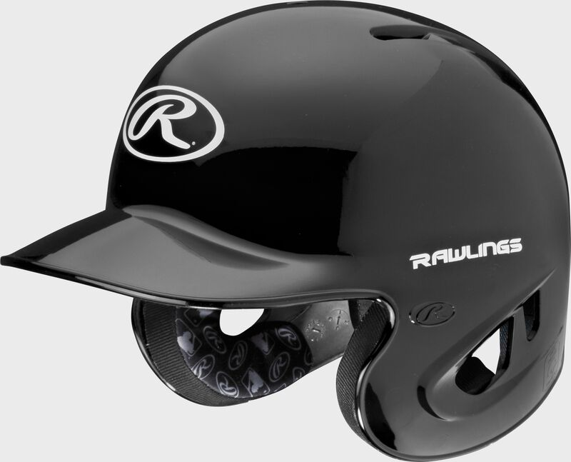 A black S90PA RPR high schoole/college batting helmet with a white Oval R logo on the front