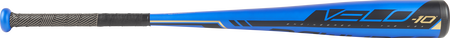 Barrel of a US9V10 2019 Velo Hybrid USA baseball bat with a blue barrel and black accents