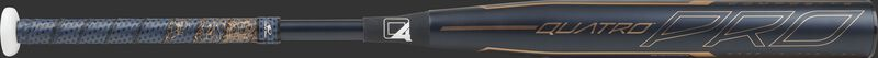 Barrel of a black FPZP9 Rawlings Quatro Pro fastpitch bat with rose gold accents