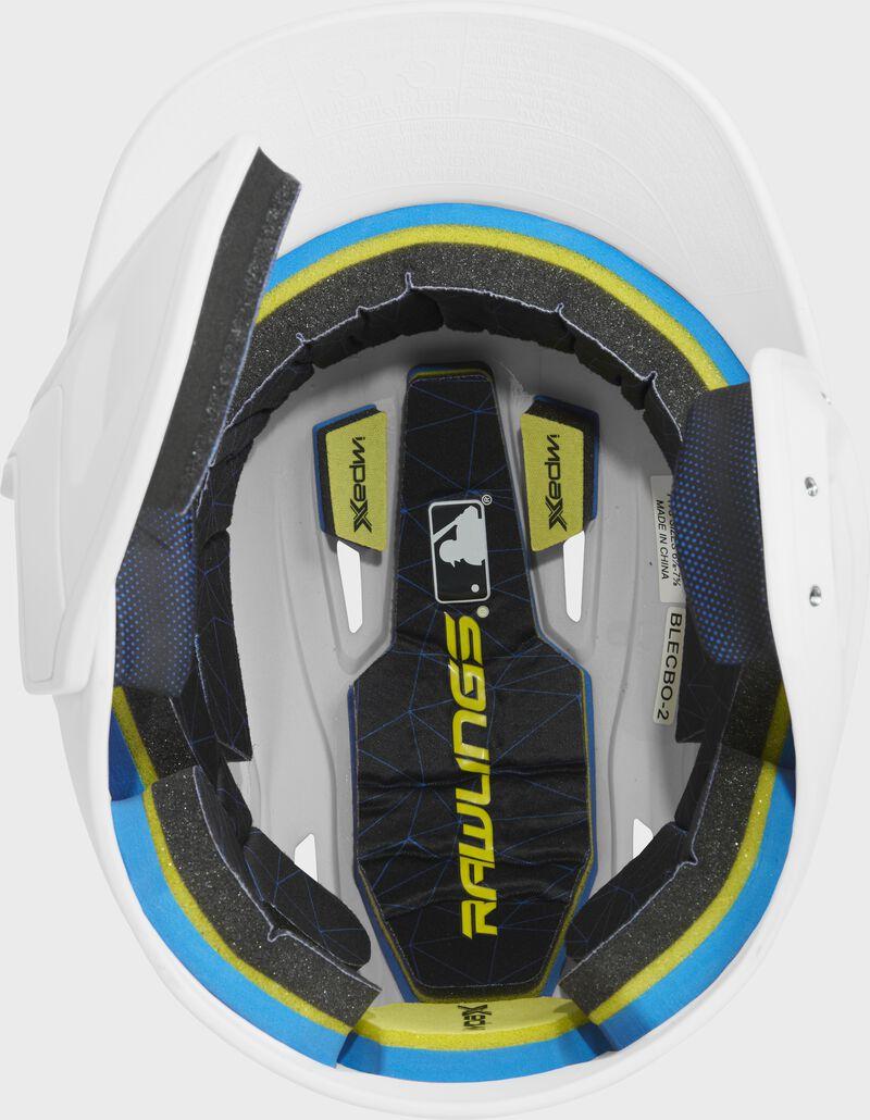 Inside of a MACHEXTL Rawlings MACH baseball helmet with IMPAX durable foam padding