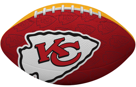 Red side of a NFL Kansas City Chiefs Gridiron football with the team logo