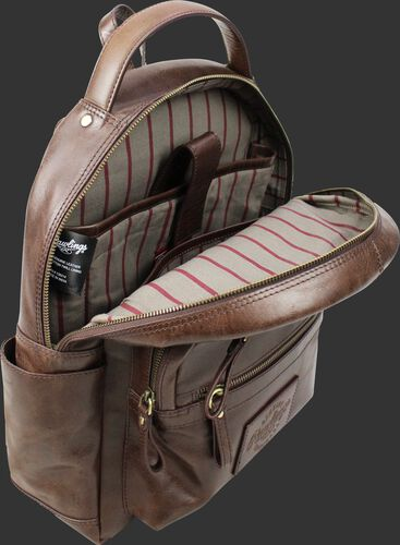 Inside of a brown RS10057-BRN medium sized Rugged leather backpack with a internal laptop section and pinstripe material