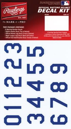 Rawlings MLB Texas Rangers Decal Kit With Blue Numbers SKU #MLBDC-TEX
