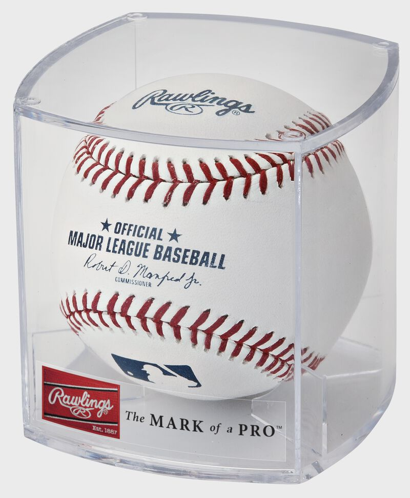 A ROMLB Official MLB baseball in a clear display cube