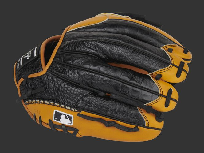 Black Croc embossed leather back of a Pro Preferred leather glove with the MLB logo on the pinkie - SKU: PROS205-30TC