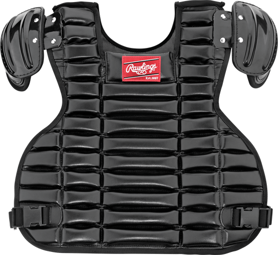 Front of a black UCPPRO-B Umpire adult chest protector with a red Rawlings patch on the chest