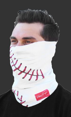 A guy wearing a white baseball stitch Rawlings multi-functional head and face cover over his mouth and nose - SKU: RC40001-100