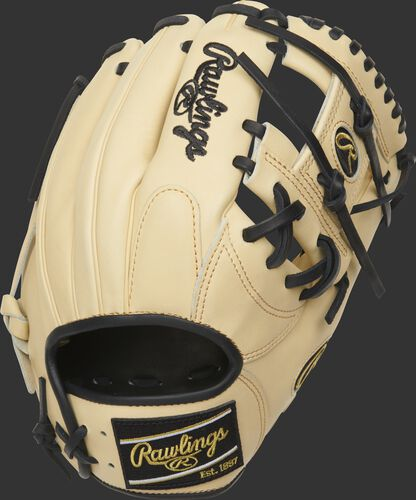 Camel back of a 2021 Heart of the Hide 11.5-Inch I-web glove with a black Rawlings patch - SKU: PRONP4-2CB