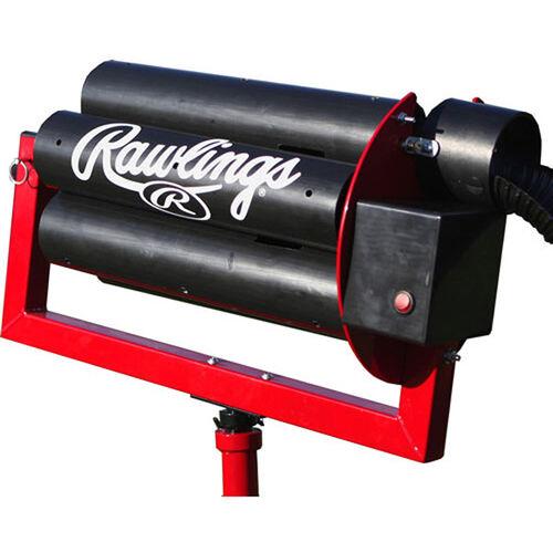 Feeder Machine View of Rawlings Black Spin Ball Pro 2 Wheel Baseball Automatic Ball Feeder With Brand Name SKU #RAF2BB