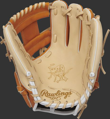PROR204-2CTW Rawlings 11.5-inch infield glove with a camel palm and camel laces