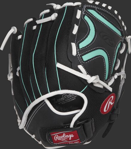 Back view of a black CL115BMT 11.5-inch Champion Lite softball infield glove with a adjustable Velcro wrist strap