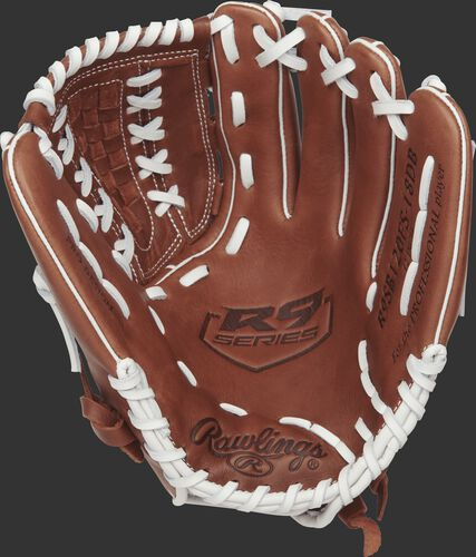 R9SB120FS-18DB Rawlings 12-inch softball glove with a brown palm and white laces