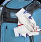 Two batting gloves hanging on the front Velcro strap of a Franchise baseball backpack - SKU: FRANBP-CB image number null