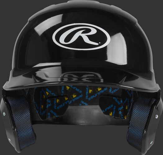 Front of a black MCH01A Rawlings Mach helmet with an Oval R logo