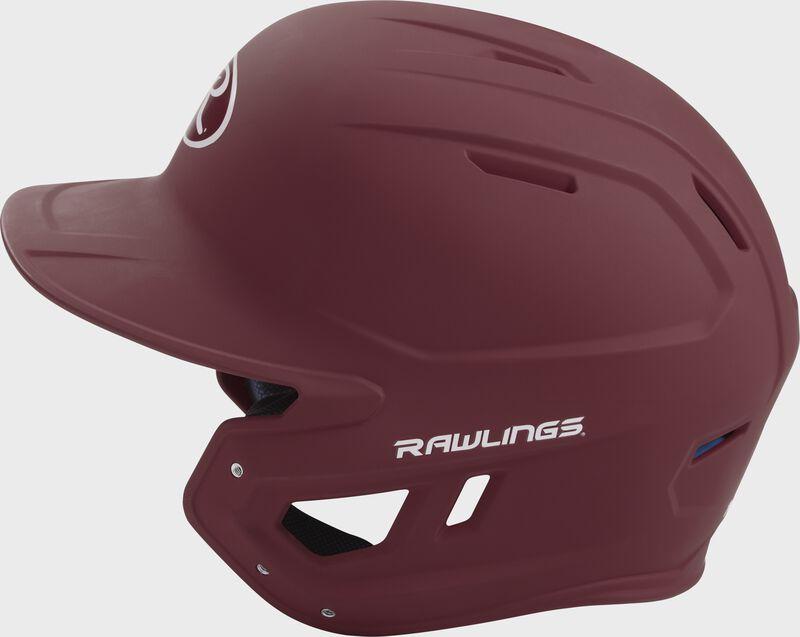 MACH Rawlings batting helmet with a one-tone matte maroon shell