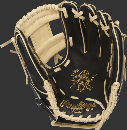 PROR314-2BC Rawlings Heart of the Hide R2G I web glove with a black palm and camel laces