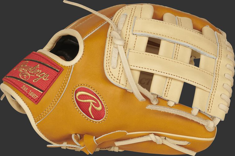 Thumb view of a PROS204-6CT Pro Preferred 11.5-inch infield glove with a camel H web
