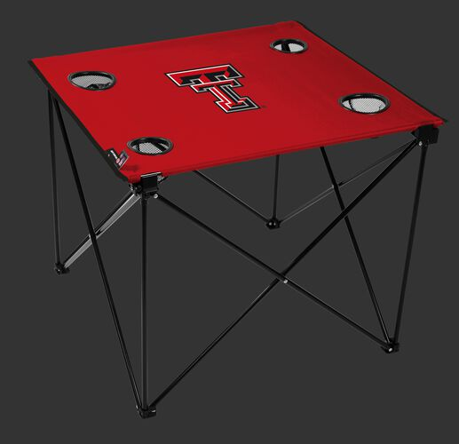 A red NCAA Texas Tech Red Raiders deluxe tailgate table with four cup holders and team logo printed in the middle SKU #00713063111