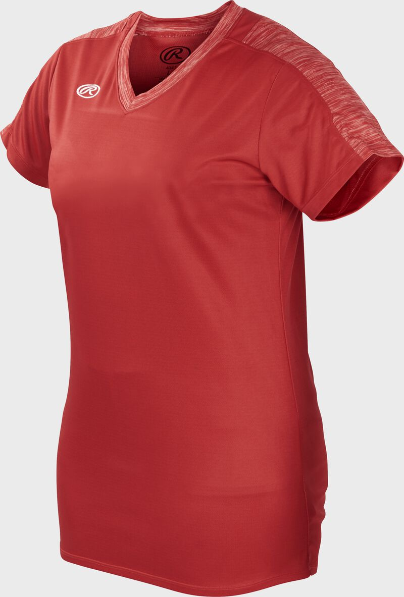 Front of Rawlings Women's Scarlet Adult Short Sleeve Launch Jersey  - SKU #WLNCHJ-S