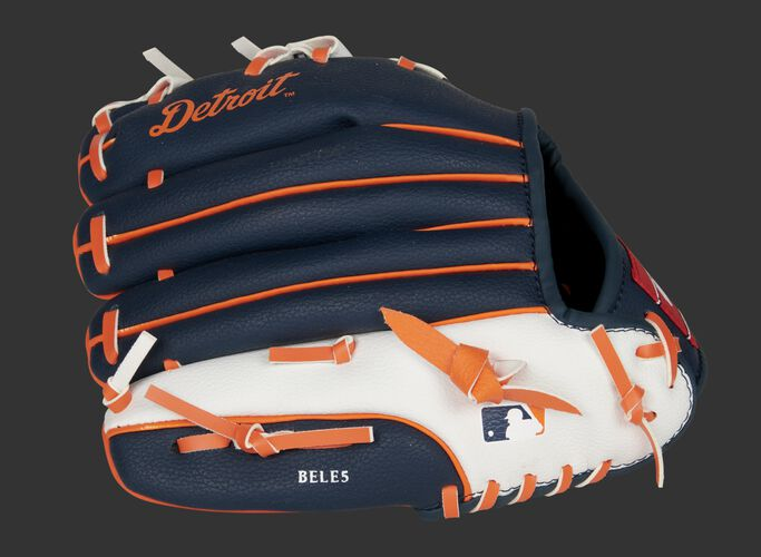 Back of a navy/white/orange Detroit Tigers 10-inch youth glove with the MLB logo on the pinky - SKU: 22000027111