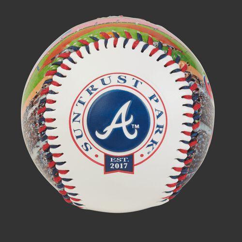 Atlanta Braves team logo on a MLB stadium baseball