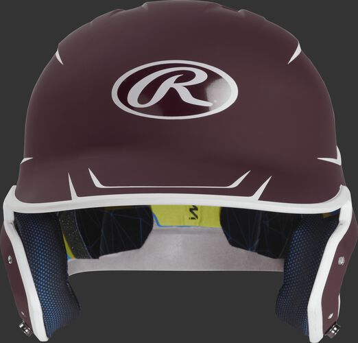 Front of a matte maroon/white MACH senior size batting helmet