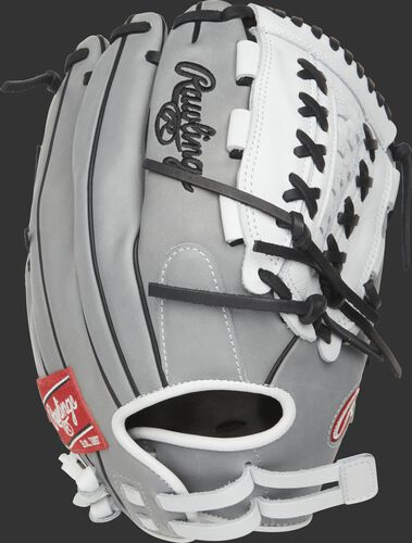 PRO125SB-18GW 12.5-inch outfield/pitcher's Heart of the Hide Softball glove with a grey back and Pull Strap design